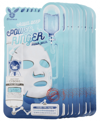 Набор тканевых масок увлажняющих ELIZAVECCA Aqua Deep Power Ringer Mask Pack 23мл*10шт: фото